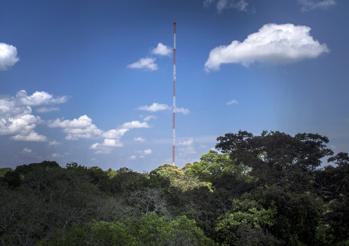 The 325-meter-high Amazon Tall Tower Observatory (ATTO) rises above the jungle in the Scientific Station of Uatumã, in São Sebastião do Uatumã, about 170 km from Manaus, Aug. 22, 2015. The ATTO will gather data on heat, water, carbon gas, winds, cloud formation, carbon absorption and weather patterns to monitor relationships between the jungle and the atmosphere.
