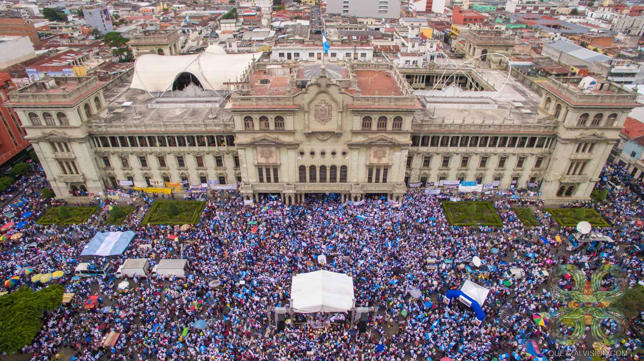 An aerial shot of Guatemala City protests.
