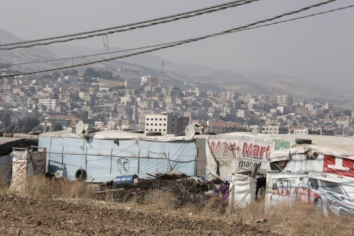 A makeshift settlement near the Bekaa Valley town of Zahle, Lebanon.