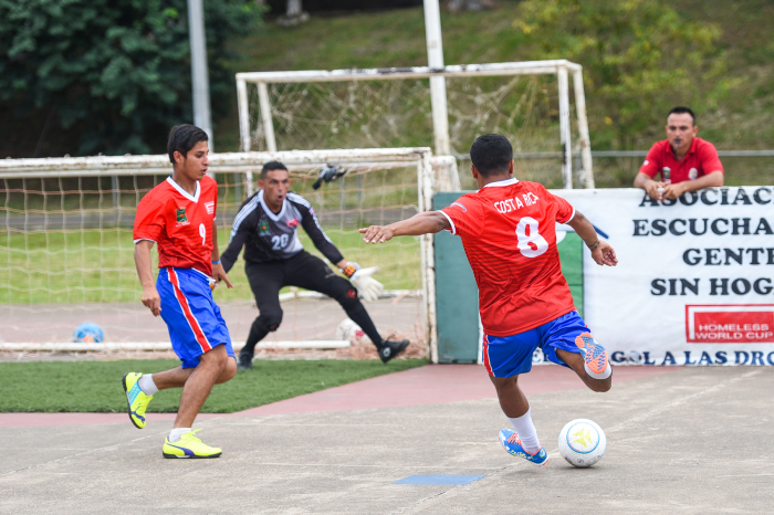 International street football is made up of three players in the court and one goalkeeper.