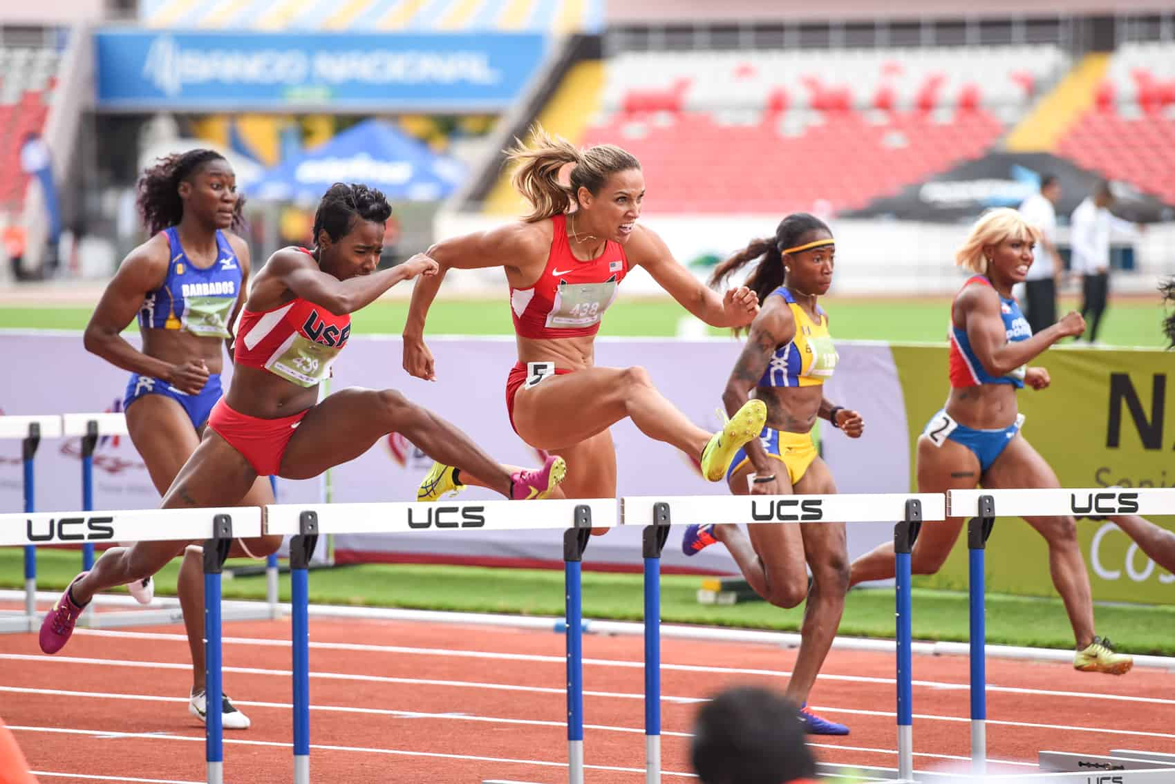 Track star Lolo Jones won the women's 110 meter hurdles at the NACAC Championships in San José on Saturday with a blazing run of 12.63 seconds.