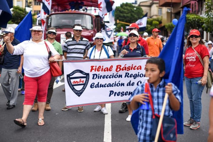 Teachers from public schools, members of the National Association of Educators (ANDE) attend the public employee protest in Avenida Segunda, San José, August 20, 2015.