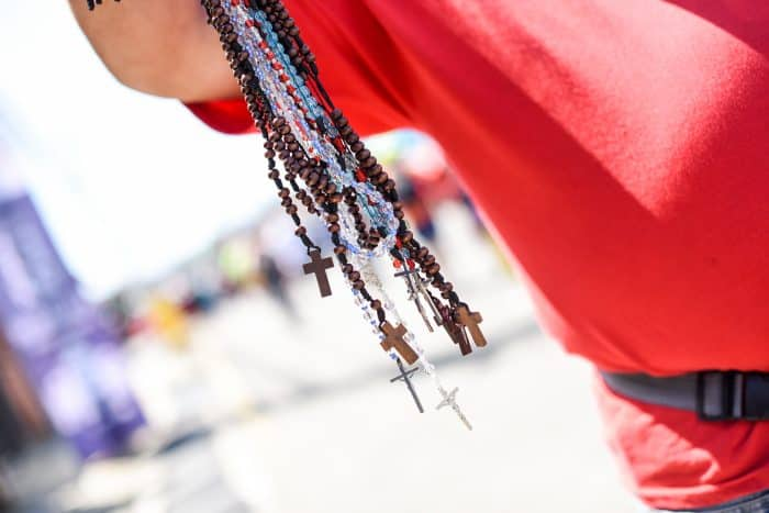 Rosaries for sale at the 2015 Romería, August 1, 2015.