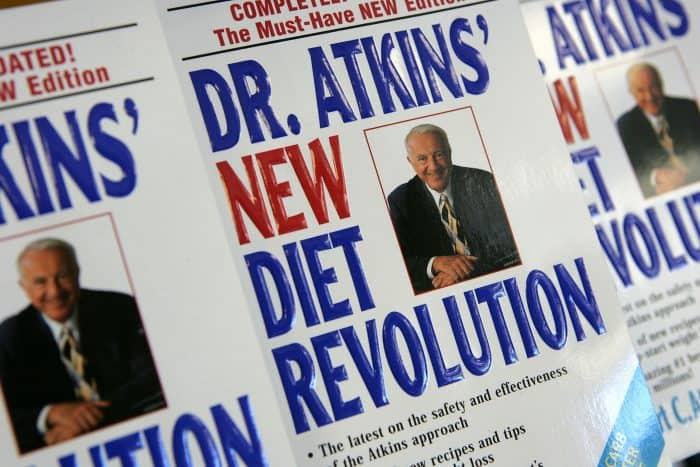 "Dr. Atkins' ""New Diet Revolution"" books on sale."