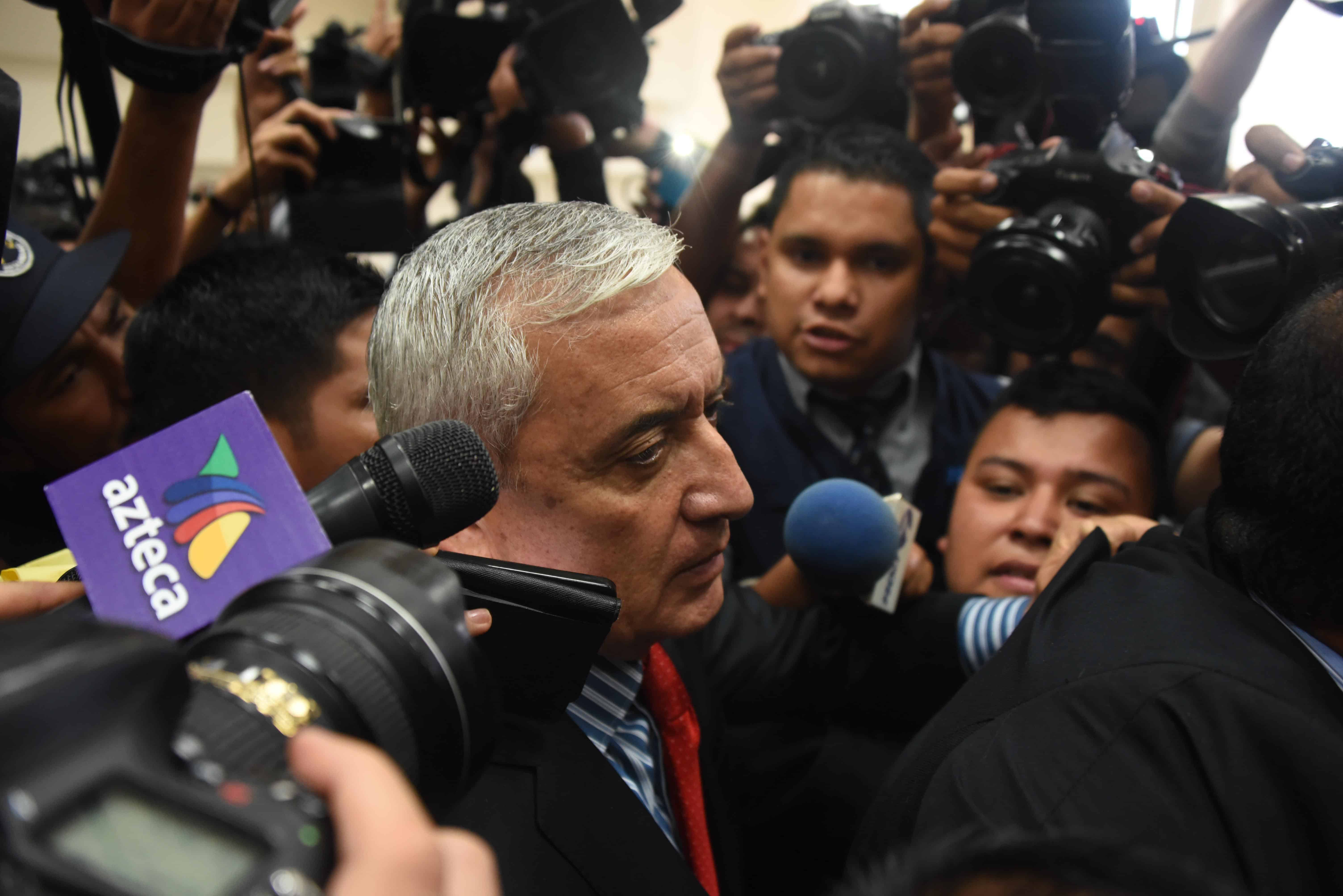 Otto Pérez Molina arrives at the Tribunal of Justice in Guatemala City, on Sept. 3, 2015 to face corruption charges.