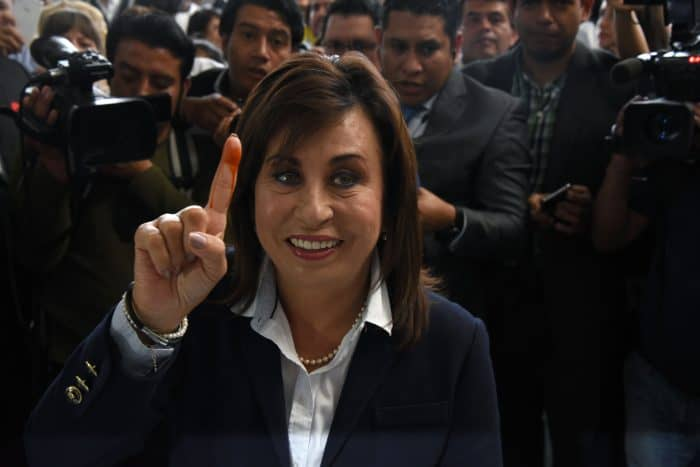 Guatemalan presidential candidate for the National Union of Hope, Sandra Torres, votes at a polling station in Guatemala City, on Sept. 6, 2015.