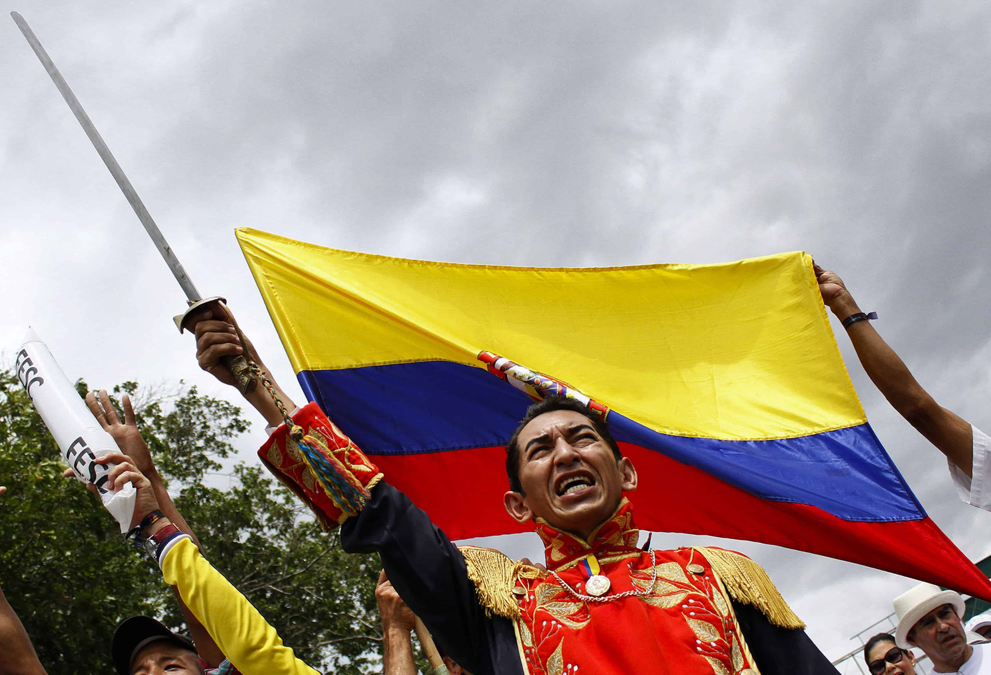 A man dressed as Latin American hero Simón Bolívar marches against Venezuelan President Nicolás Maduro in Cucuta, Colombia, on Sept. 6, 2015.