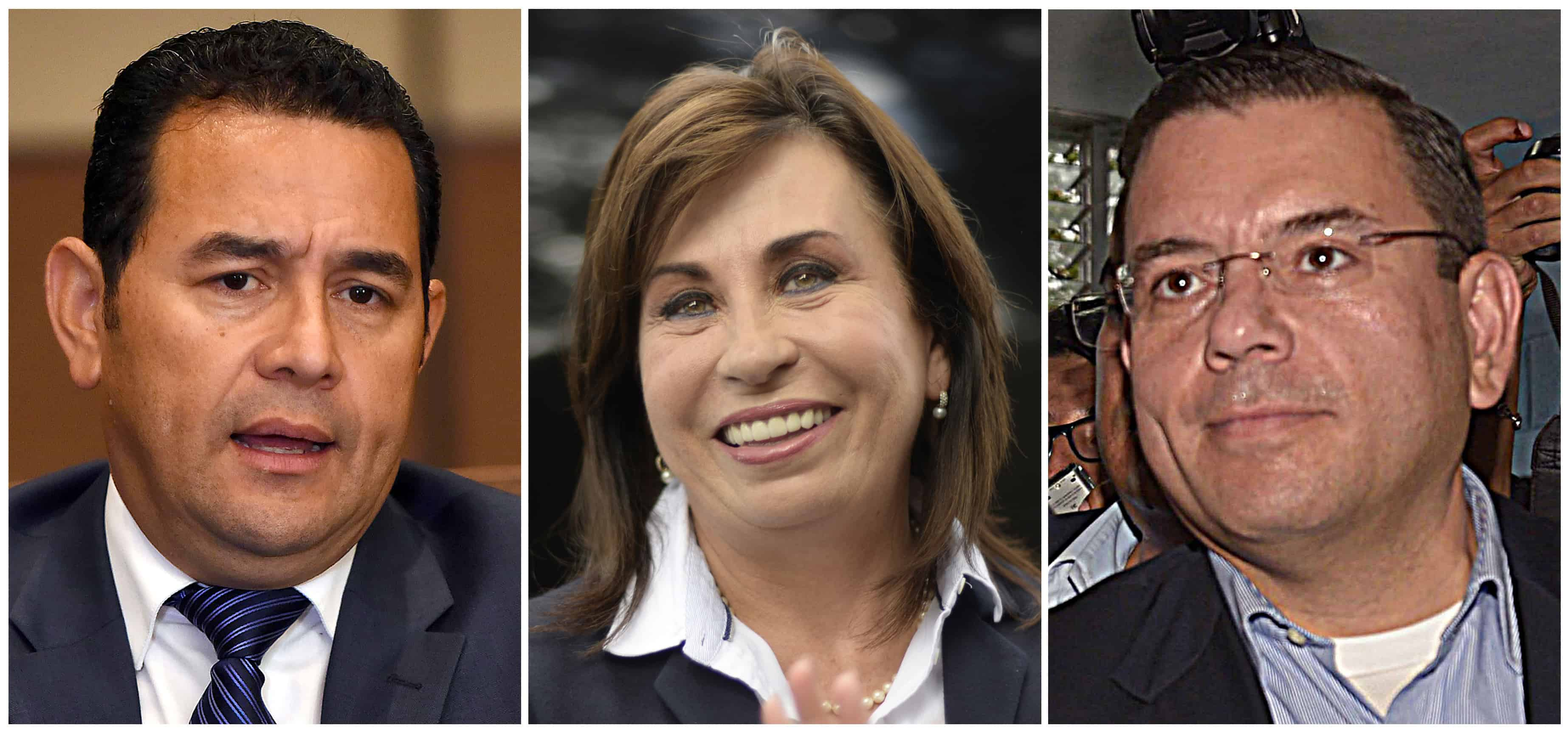Guatemalan presidential candidates Jimmy Morales, Sandra Torres and Manuel Baldizón.