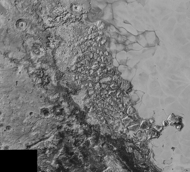 Broken terrain on Pluto
