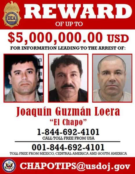 A DEA wanted poster distributed in Mexico.