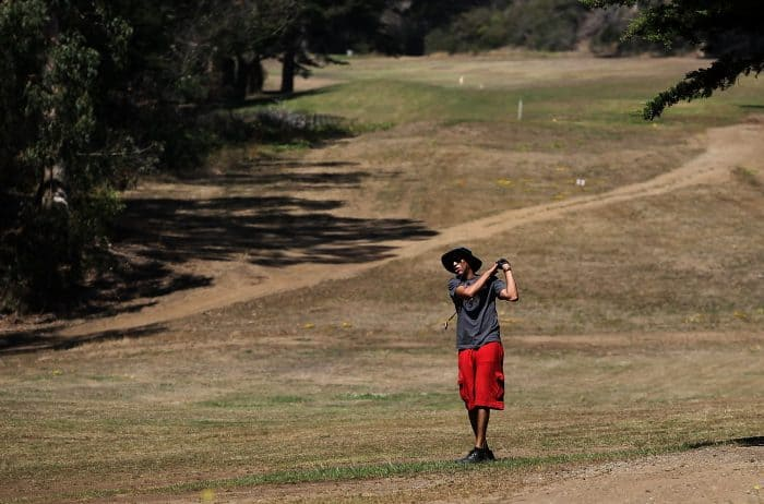 Playing golf in a California drought.