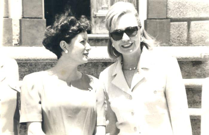 Josette Altmann Borbón and Hillary Clinton.
