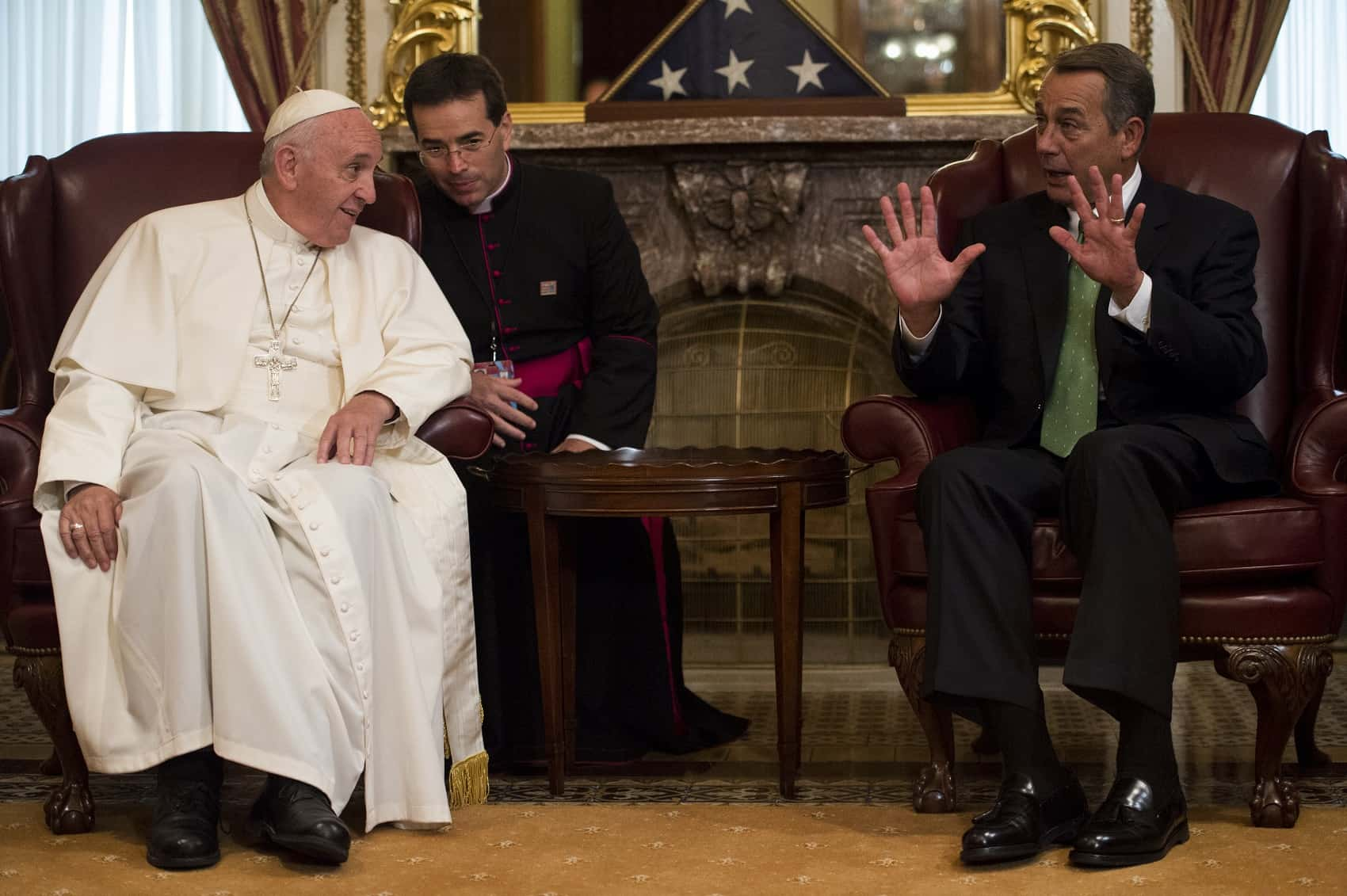 Speaker of the House John Boehner speaks with Pope Francis