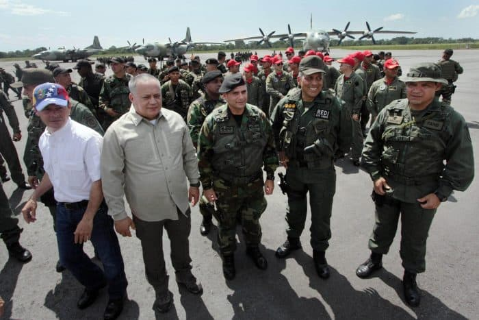 Diosdado Cabello and Venezuela troops.