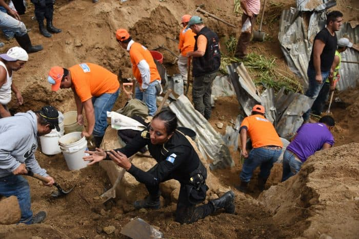 Guatemala landslide rescue effort.