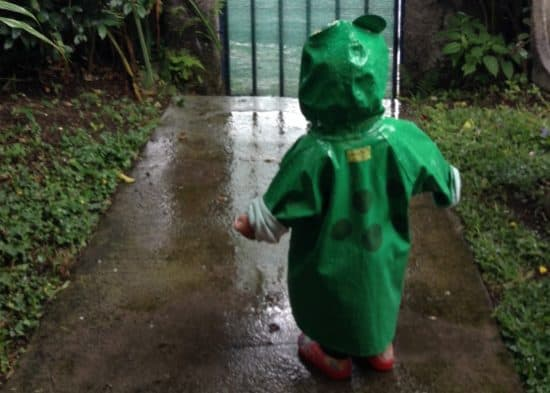 kid in rainsuit
