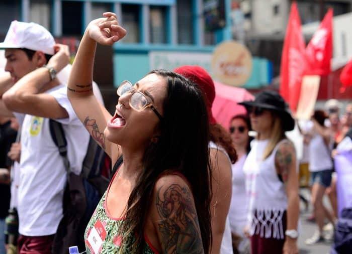 a woman chanting