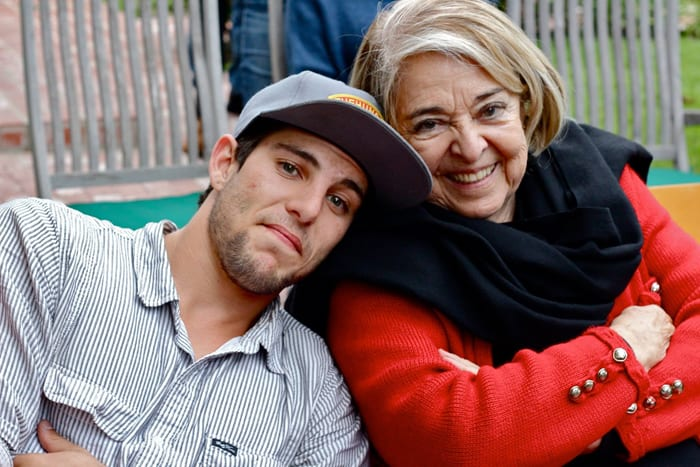 Monica's son Matias Letelier with his grandmother.