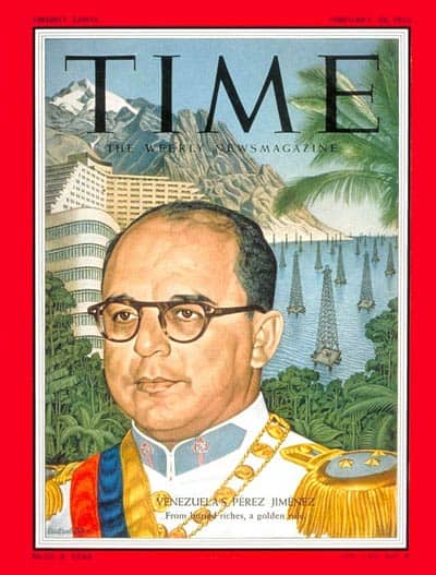 Venezuelan dictator Marcos Pérez Jiménez on the cover of Time Magazine.