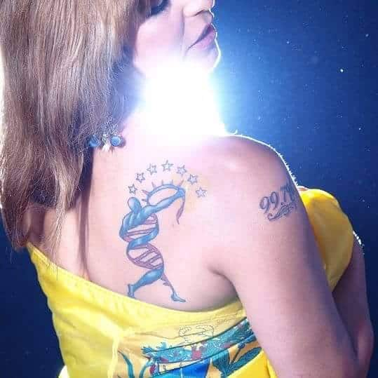 Monica's tattoos.