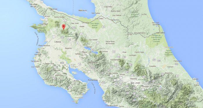 Costa Rica geothermal energy: Rincón de la Vieja map