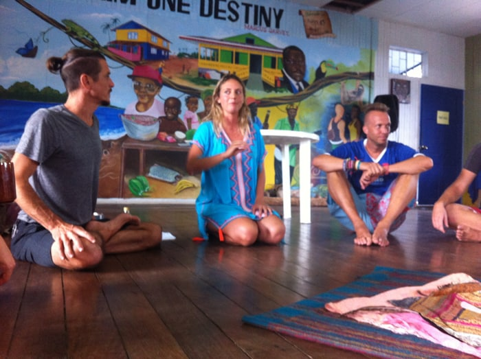 Hannah Dyson leads a Cacao Ceremony at the Chocolate Festival.