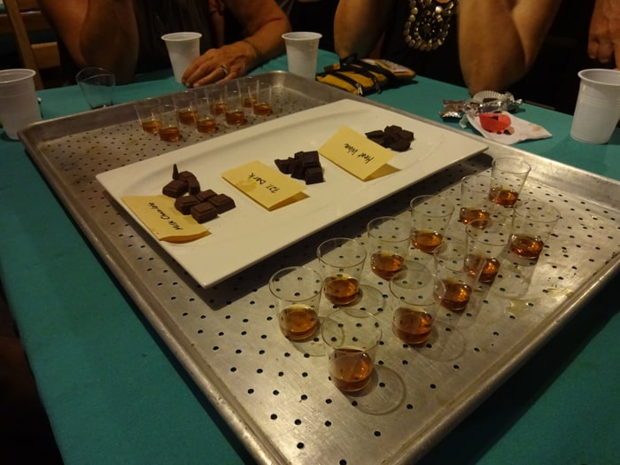 Three types of chocolate are paired with shots of Glenlivet scotch at Restaurante Tamara..