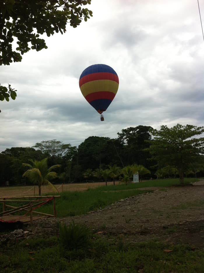 A hot-air balloonjust outside Puerto Viejo.
