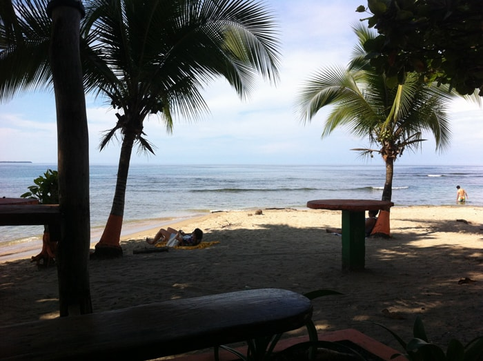 The beach in front of Lazy Mon in Puerto Viejo.