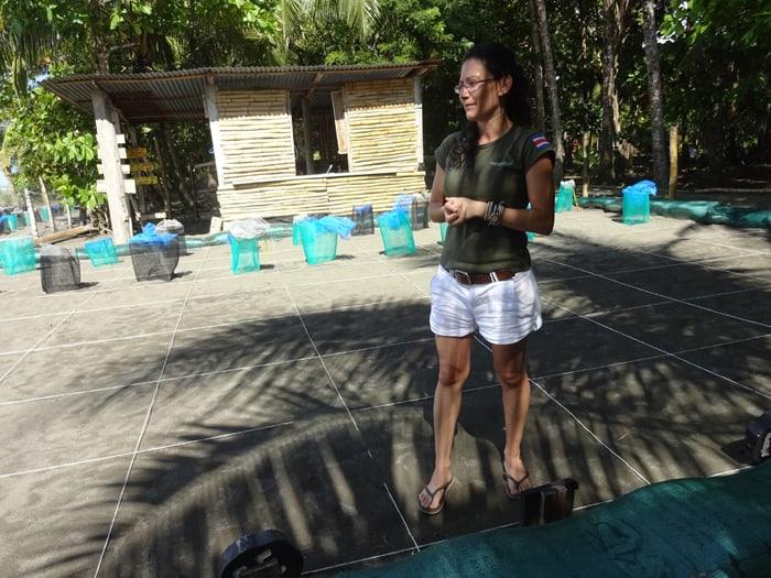 Mariana Alvarado of the turtle nursery at Playa Matapalo.