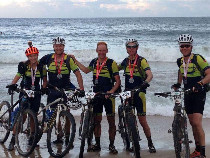 Colorado team at finish of La Ruta de los Conquistadores