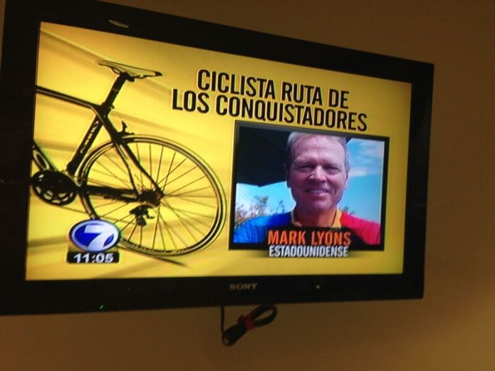Mark Lyons on news channel; Ruta de los Conquistadores