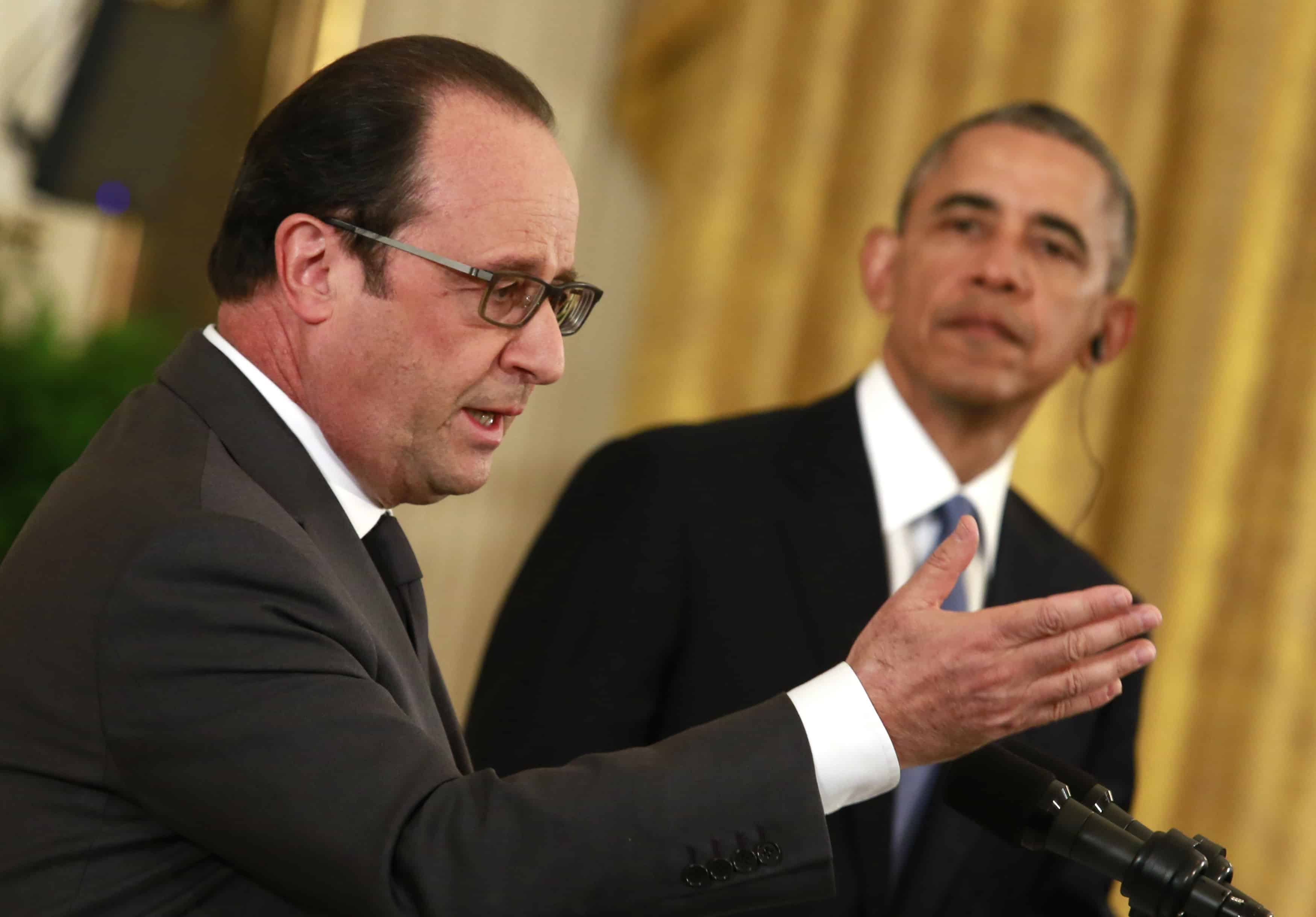Obama and Hollande after Russian warplane shot down by Turkey