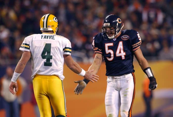 Brett Favre and Brian Urlacher in 2003. NFL, Packers v. Bears