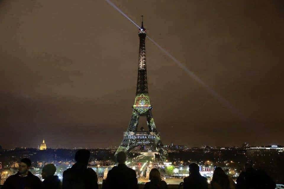 Eiffel Tower on the first night of the Paris climate talks