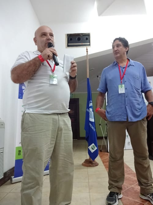 Carlos Sandí of EARTH University, left, and Rafael Gallo, president of the Costa Rican Network of Private Reserves.