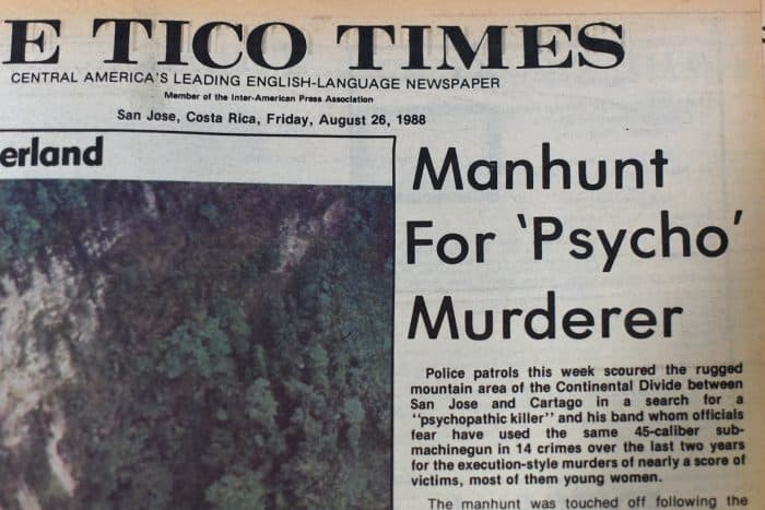 Costa Rica serial killer: Tico Times headline