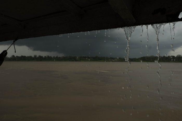 rain falling off boat cover
