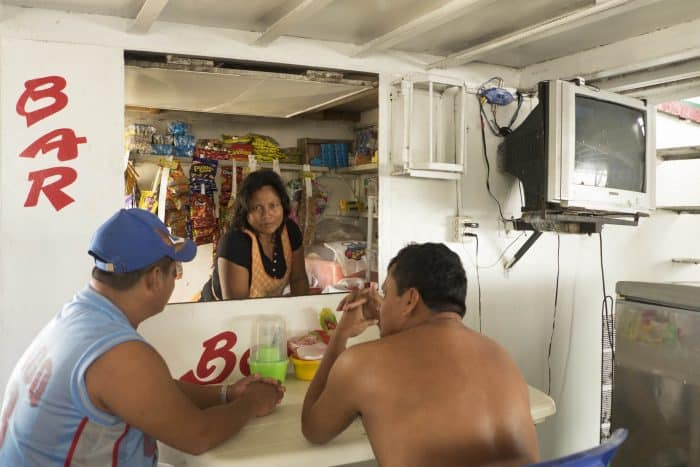 bar on Amazon River boat