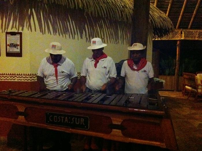 Marimba players during dinner at Lapa Ríos.