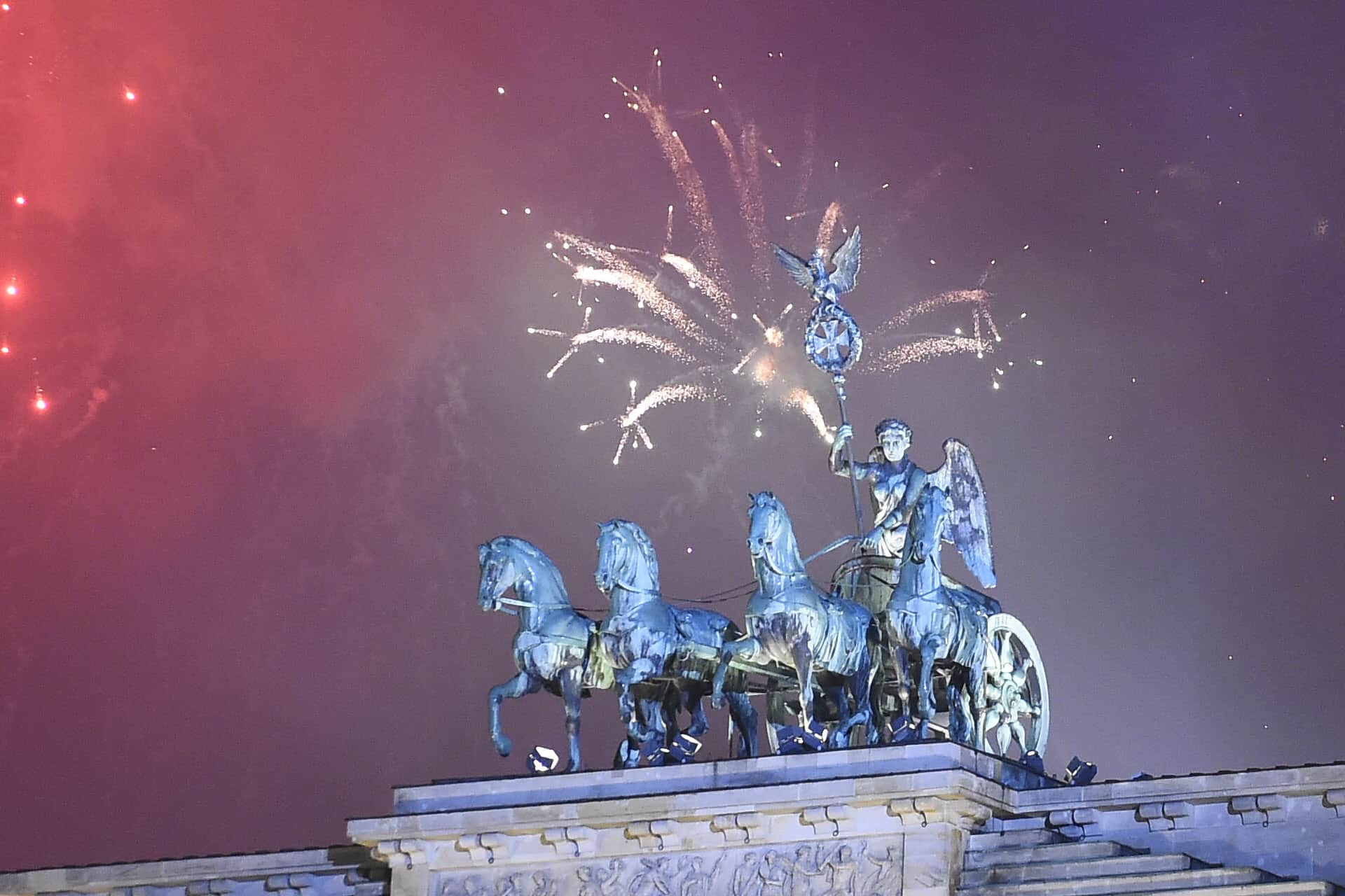 fireworks over Brandenburg Gate