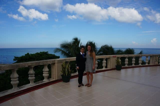 The author and Aeleen Ortiz, a historian at Hotel Nacional de Cuba.