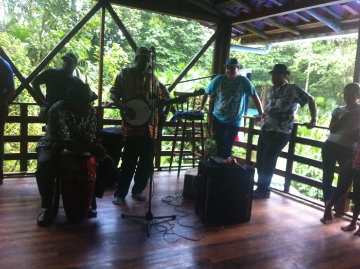 A calypso band gets ready to play.
