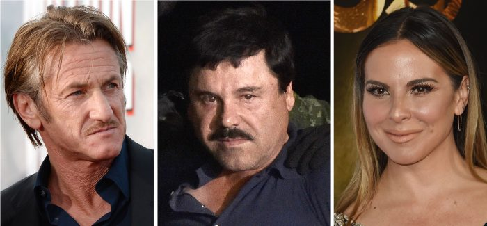 "Sean Penn, Joaquín ""El Chapo"" Guzmán and Mexican actress Kate del Castillo"