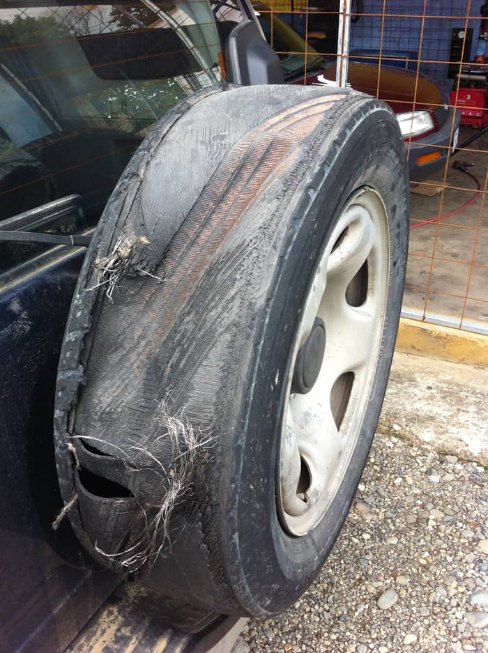 Safe to say this tire is beyond repair.