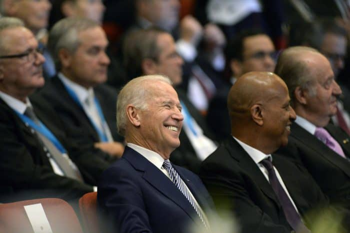 U.S. Vice-President Joe Biden smiles during the inauguration ceremony of Guatemala President Jimmy Morales