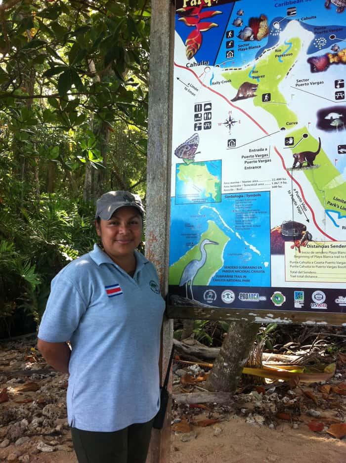 Silvia Reyes, park ranger at Cahuita National Park.