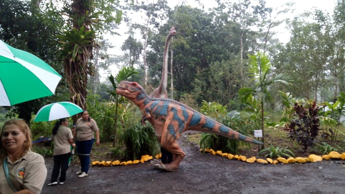 T. rex, brachiosaurus and Blue River Resort employees.
