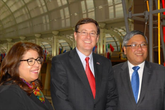 From left, Allyson McKithen, senior operations manager at the Ronald Reagan Building's Office for Trade Promotion, Román Macaya, Costa Rica's ambassador to the United States, and Nelson Garcia, president of Washington Intergovernmental Professional Group LLC.