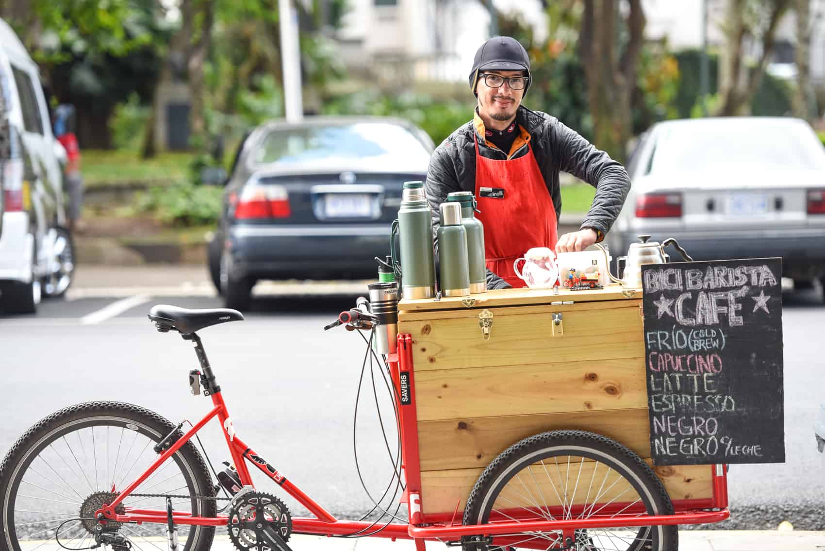 Marinoni has been serving good quality coffee from his bike for a year.